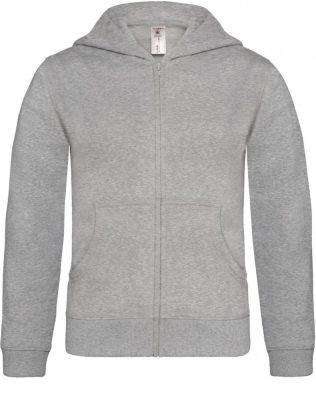 B&C gyerek pulóver Hooded Full Zip 280 melírozott szürke