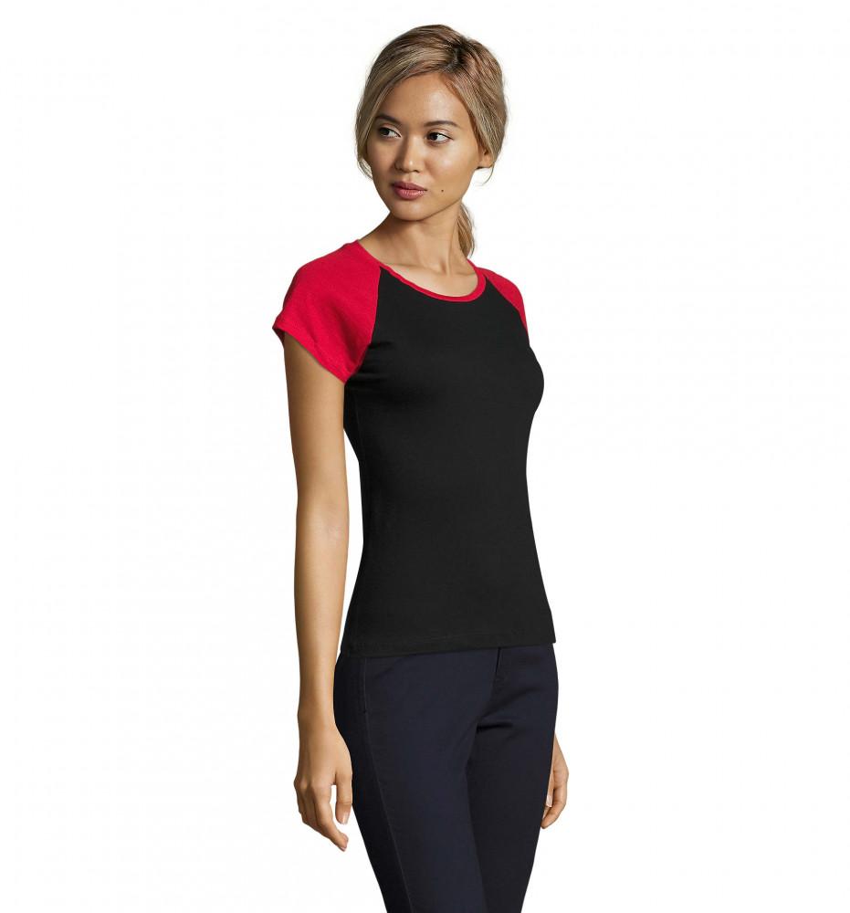 0b43134d06 Sol's fekete rövid ujjú női póló kontrasztos színösszeállításban