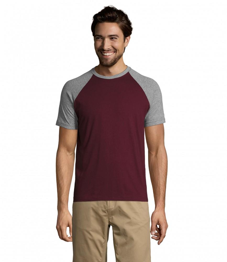 237225b81a Sol's burgundi rövid ujjú póló kontrasztos színösszeállításban