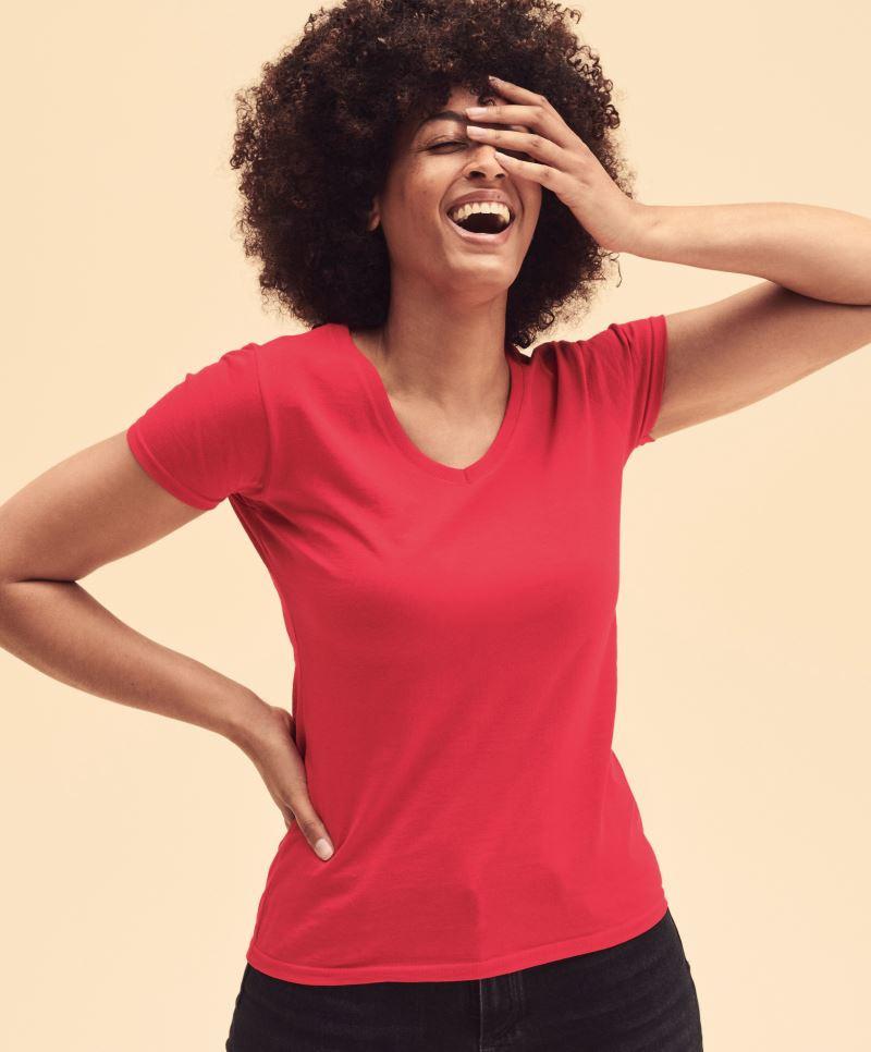 Fruit női póló Valueweight V-nyakú T 165 piros 4036fdd733