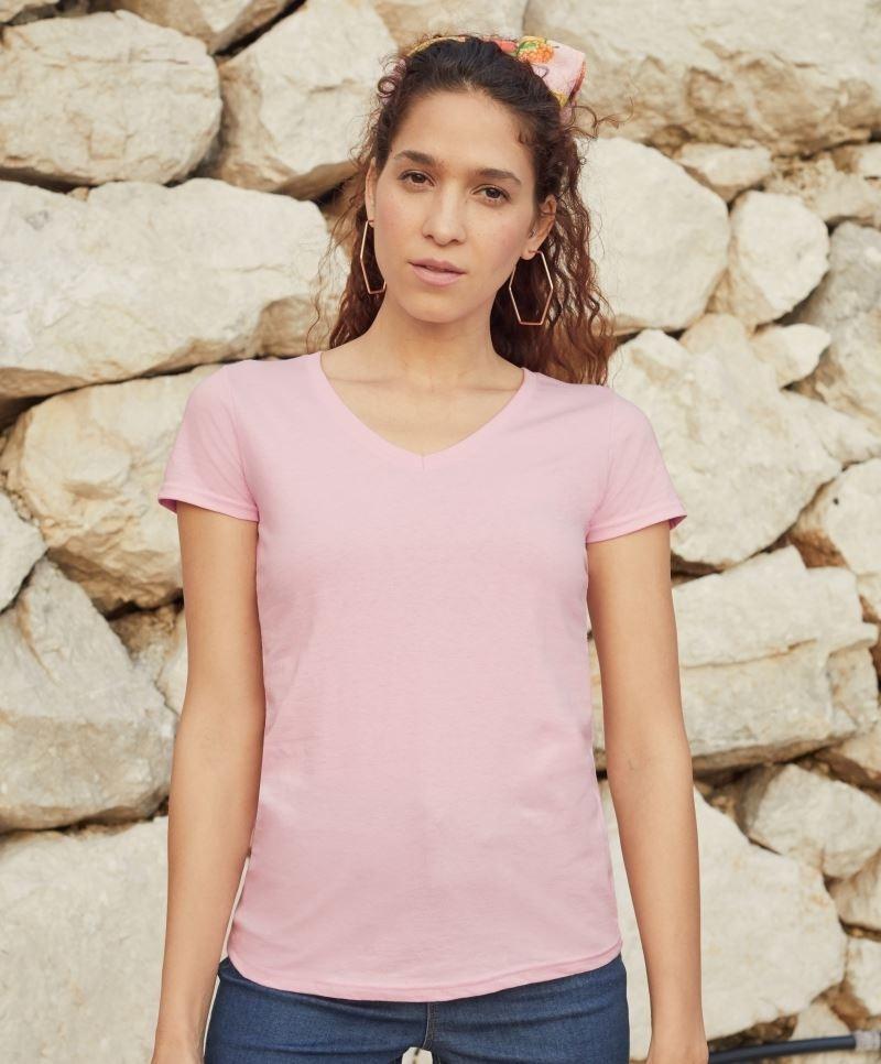 Fruit női póló Valueweight V-nyakú T 165 rózsaszín f628926b47