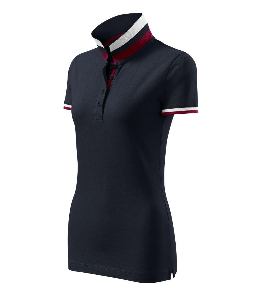 Malfini galléros női póló Collar Up 215 szürkéskék-fehér-bordó 93dcb30482