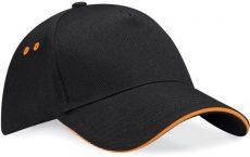 Beechfield baseball sapka Sandwich Peak 5P fekete-narancssárga