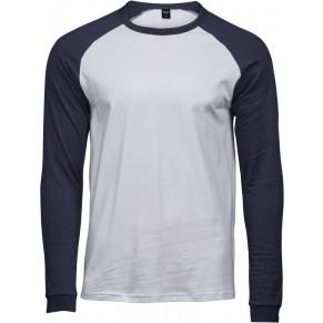 1166fd8735 Tee Jays hosszú ujjú póló Baseball 185 fehér-tengerkék