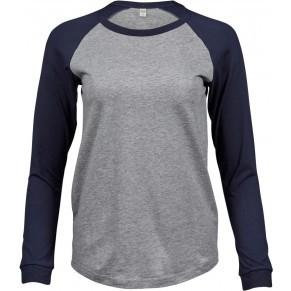 Tee Jays hosszú ujjú női póló Baseball 185 melirozott szürke-tengerkék 28f66269f0