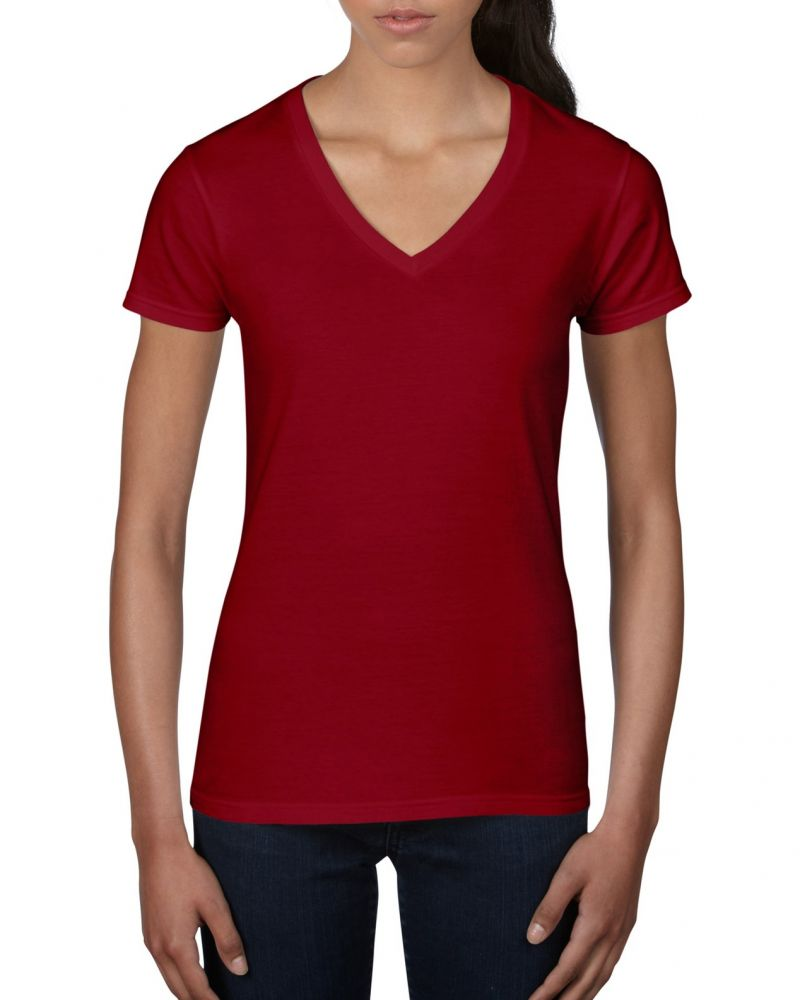 Anvil női póló Fashion Basic V-Neck Tee 150 piros 8a7960548e