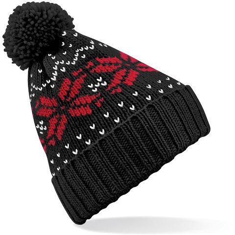 Beechfield sapka Fair Isle Snowstar fekete-piros-fehér 33548b670d