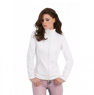 B&C női polár pulóver Micro Fleece Full Zip 280 fehér