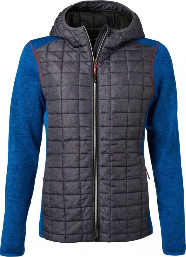 cc9cbc053a James&Nicholson női dzseki Knitted Hybrid Jacket 280 melírozott  királykék-melírozott grafit