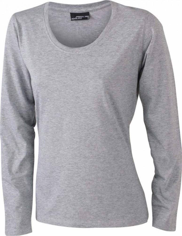 4cc4d0b2df James&Nicholson hosszú ujjú női póló 150 melírozott szürke