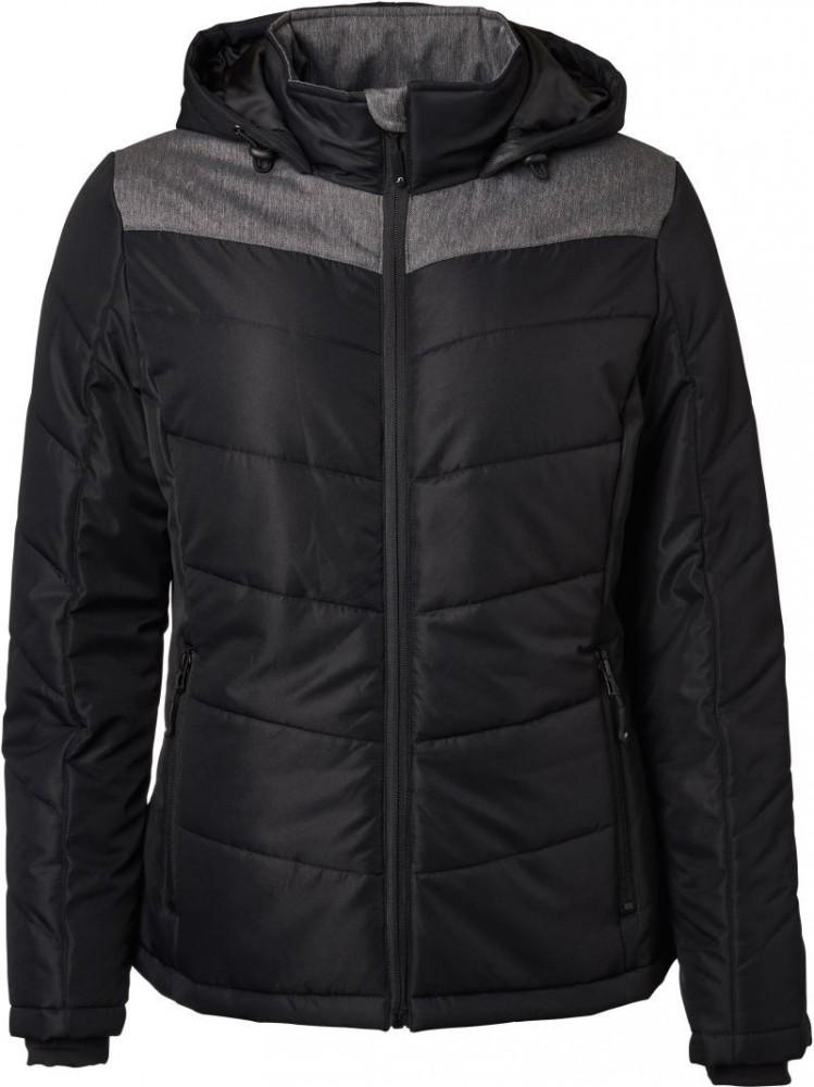 462bd8886f44 James&Nicholson bélelt női kabát Winter Jacket fekete-melírozott szürke
