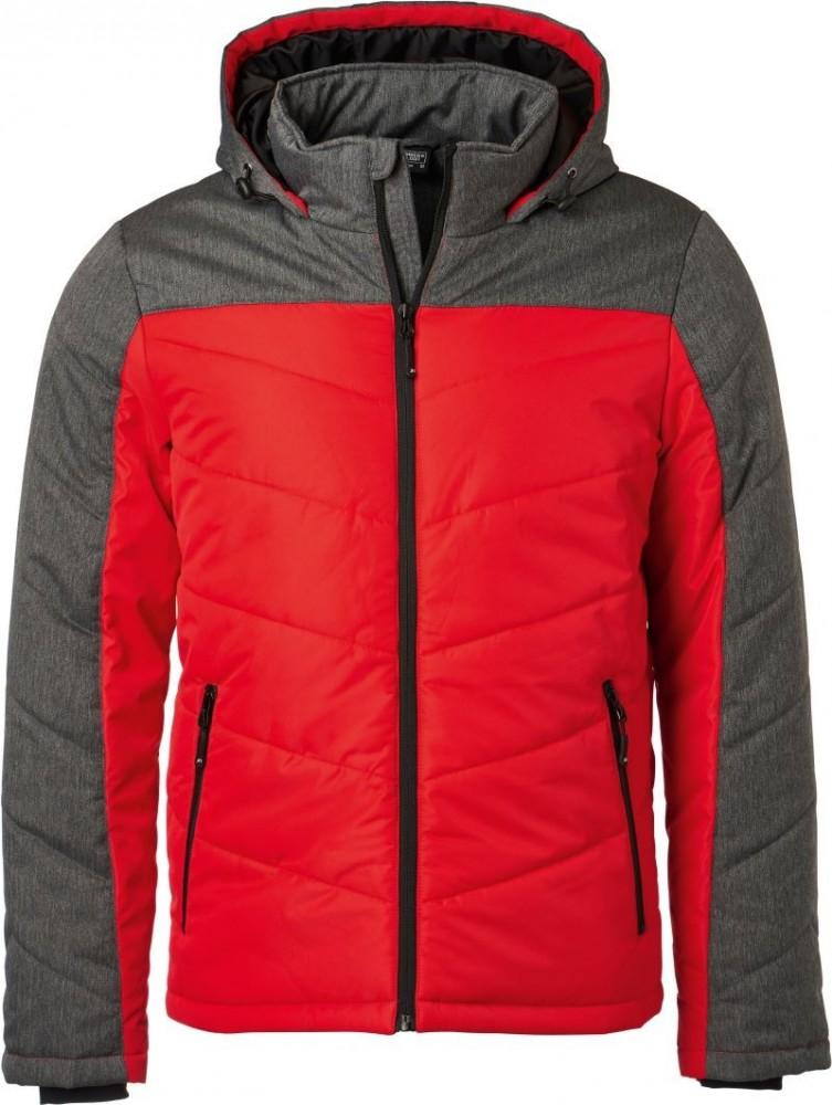 James Nicholson bélelt kabát Winter Jacket piros-melírozott szürke 79665a6d2b