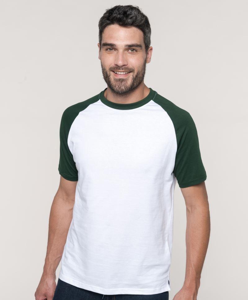 4481518acb Kariban póló Baseball T 165 fehér-erdész zöld