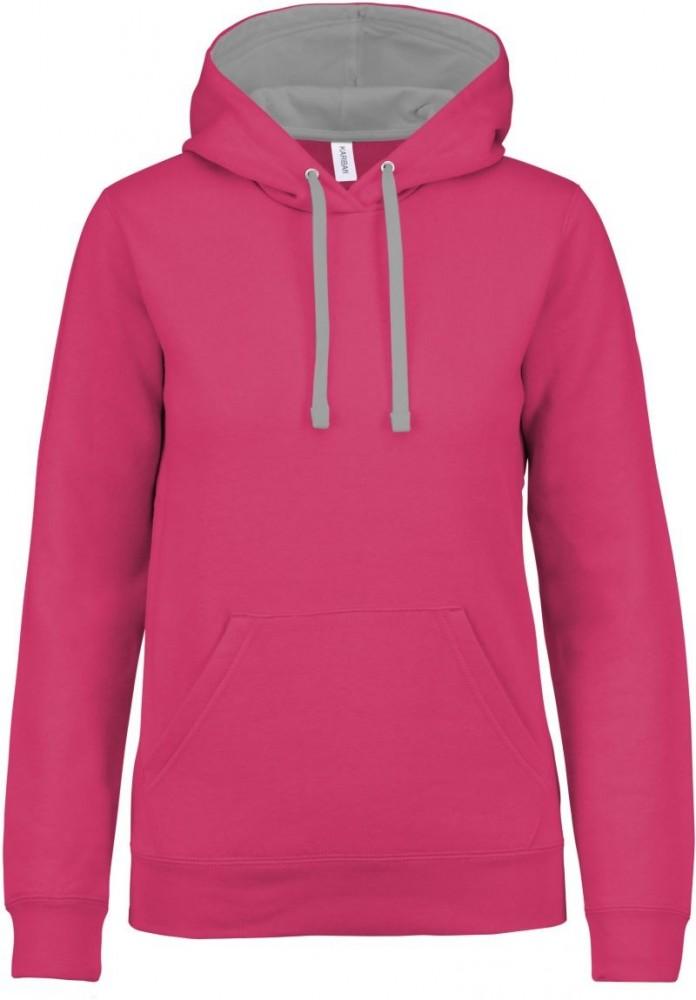 647ea436c0 Kariban női pulóver Contrast Hooded Sweatshirt 280 fukszia-szürke