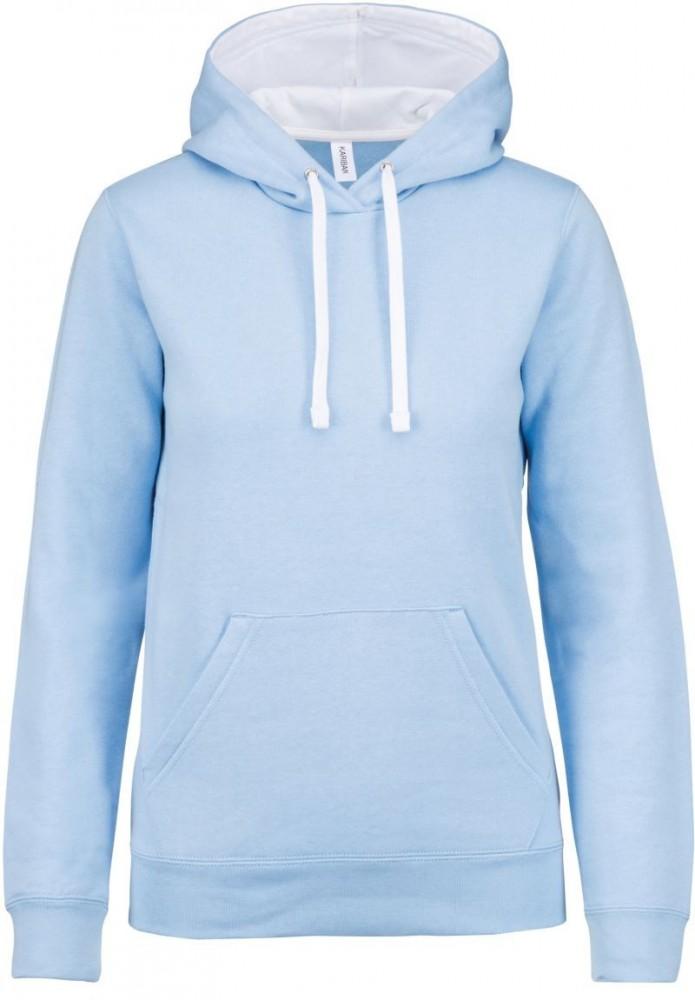 d4d0decb80 Kariban női pulóver Contrast Hooded Sweatshirt 280 égszínkék-fehér