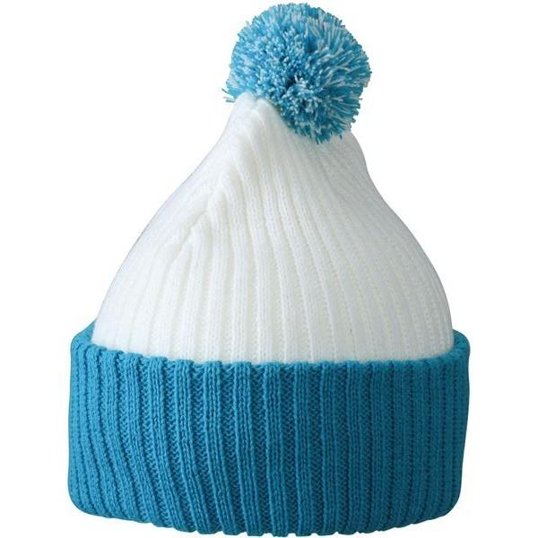 Myrtle Beach sapka Knitted Cap with Pompon fehér-aqua kék db4f905870