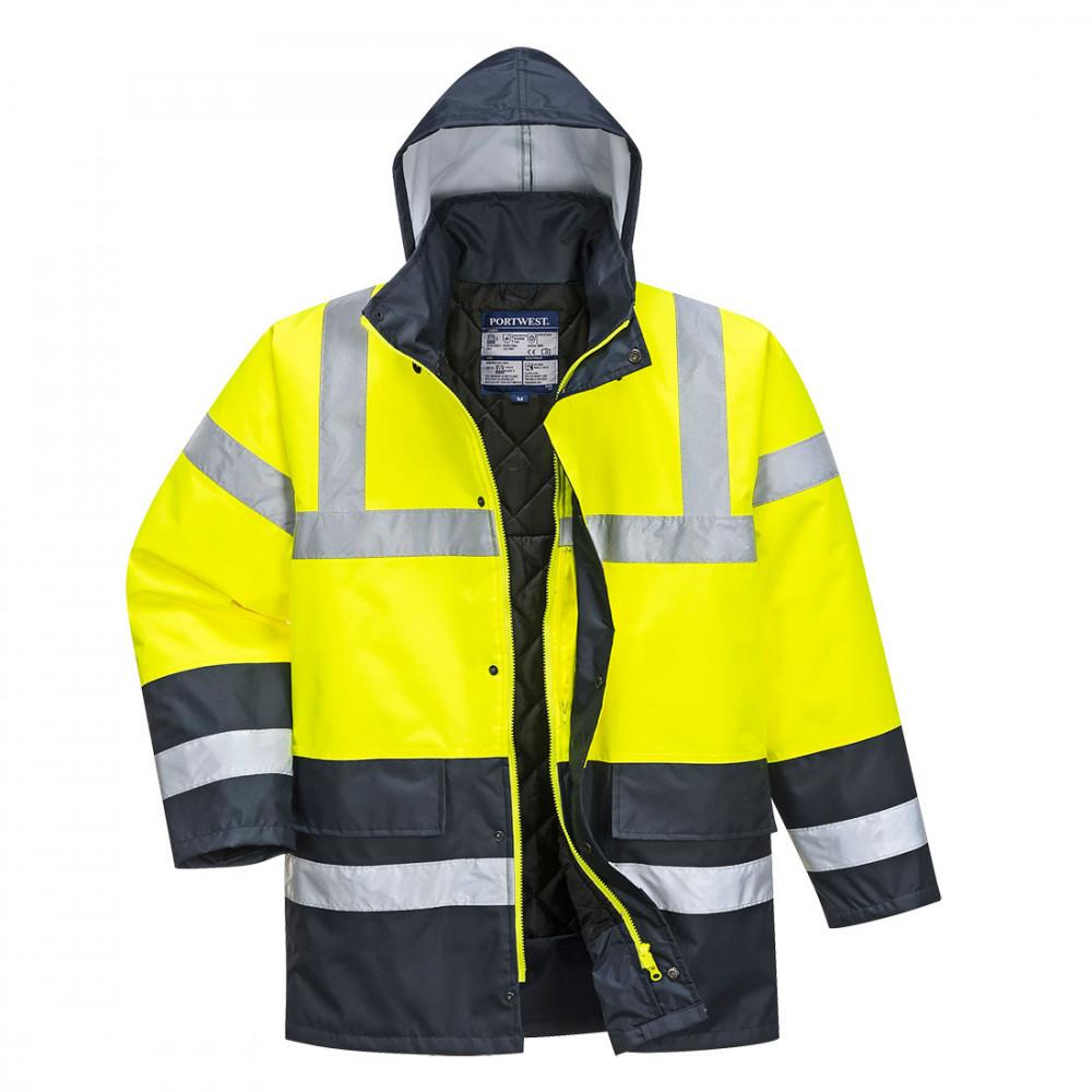 Portwest jól láthatósági kabát Kontraszt Traffic sárga-tengerkék 6730a1157b