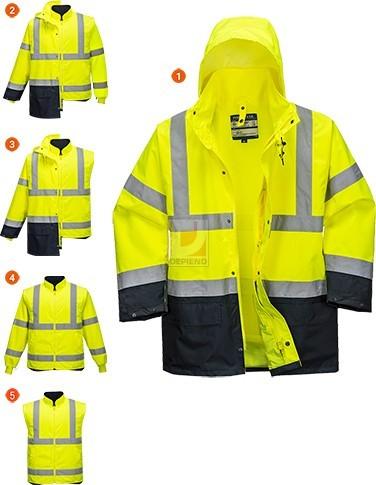 9b30df561c Portwest jól láthatósági kabát 5 az 1-ben Essential sárga-tengerkék