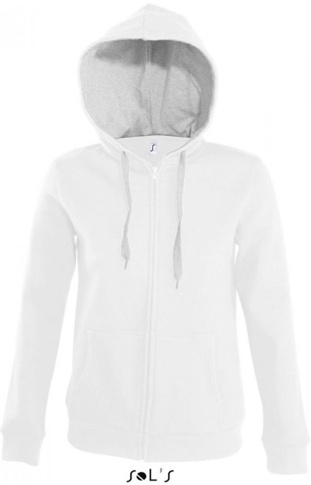 d02d4f45da Sol's fehér női pulóver kapucnival és kenguru zsebekkel