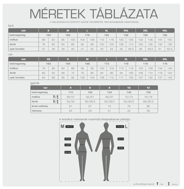 Adler mérettáblázat
