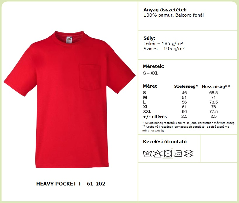 Fruit of the Loom póló mérettáblázat - Heavy Pocket T