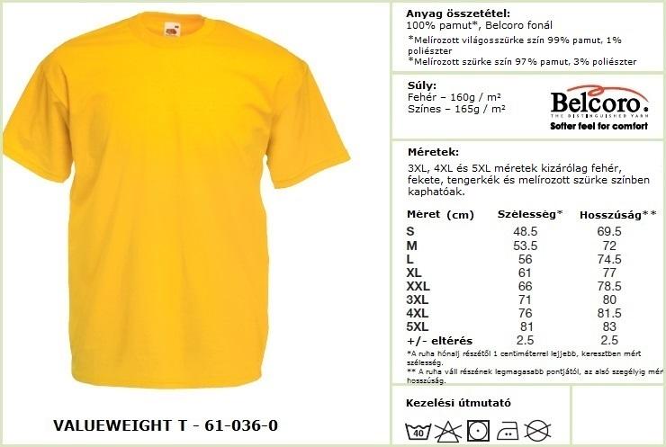 Fruit of the Loom póló mérettáblázat - Valueweight T165 f679054c12