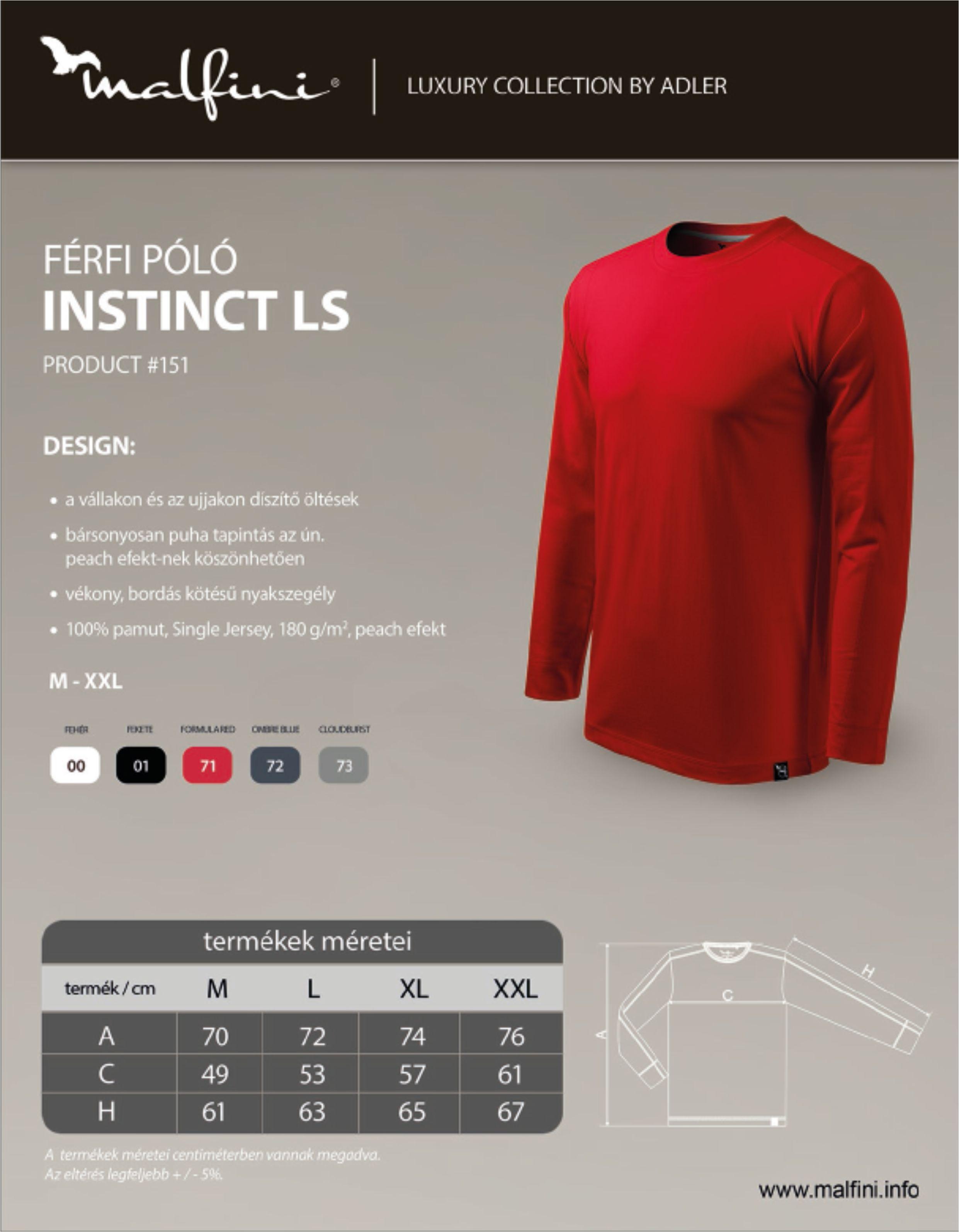 Malfini hosszú ujjú póló Instinct mérettáblázat