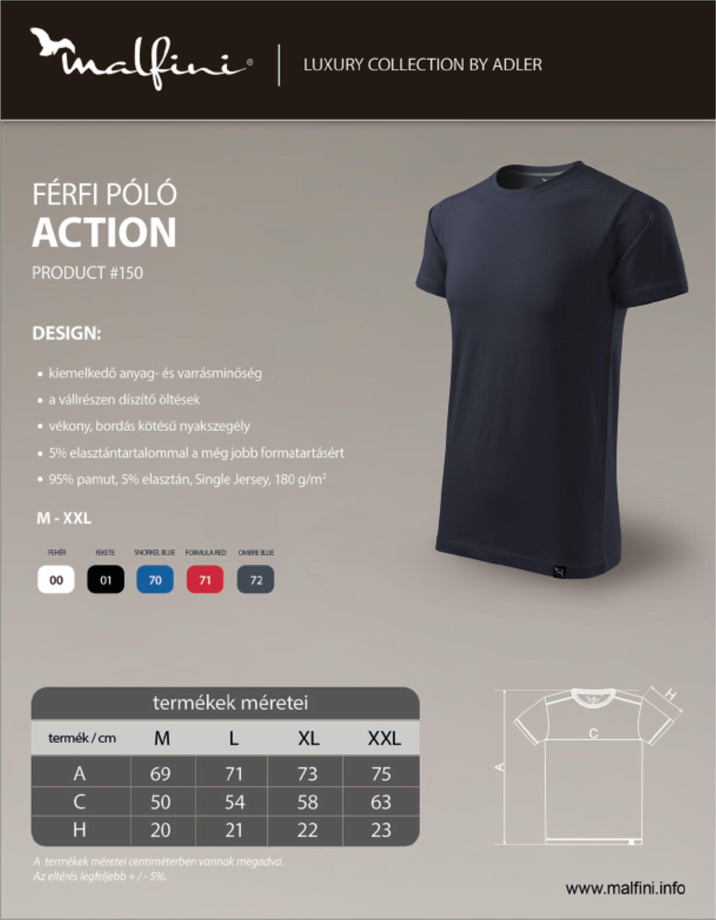 Malfini póló Action mérettáblázat