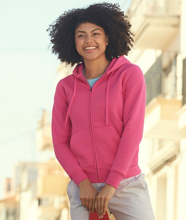 Fruit női pulóver Premium Hooded Jacket 280 pink