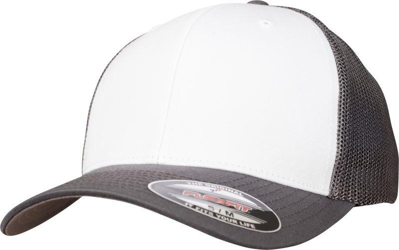 Flexfit baseball sapka Mesh Cotton Twill Trucker fehér-sötétszürke