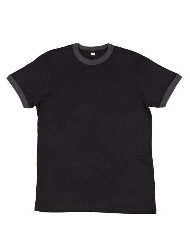 Mantis póló Superstar Retro Ringer 150 fekete-melírozott grafitszürke