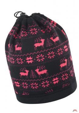 Beechfield polár sál-sapka Reindeer fekete-pink AKCIÓ