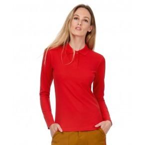 B&C hosszú ujjú galléros női póló Piqué 180 piros