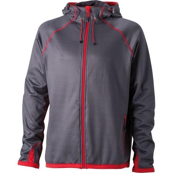 James&Nicholson dzseki Hooded Fleece 280 grafitszürke-piros