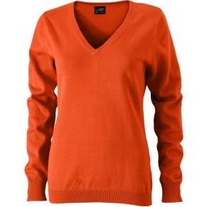 James&Nicholson női pulóver V-Neck sötét narancssárga