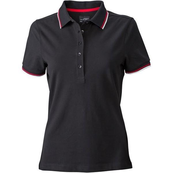 James&Nicholson galléros női póló Coldblack 215 fekete-fehér-piros