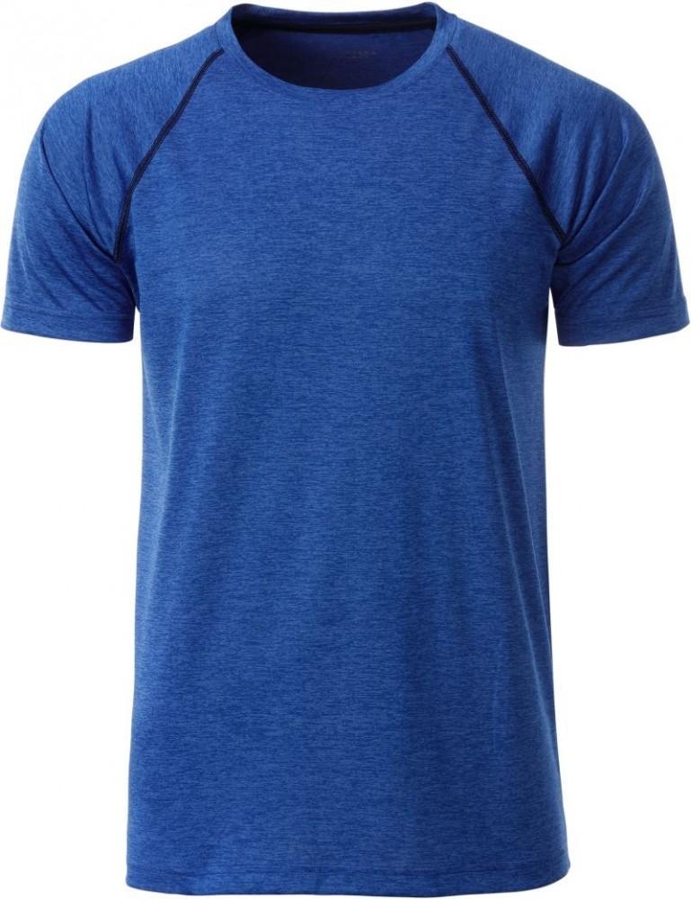 James&Nicholson rövid ujjú póló Sport 130 melírozott kék-tengerkék