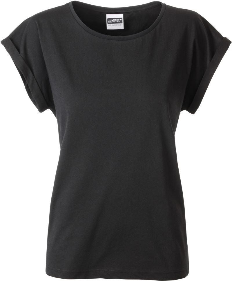 James&Nicholson női póló Casual Organic 120 fekete