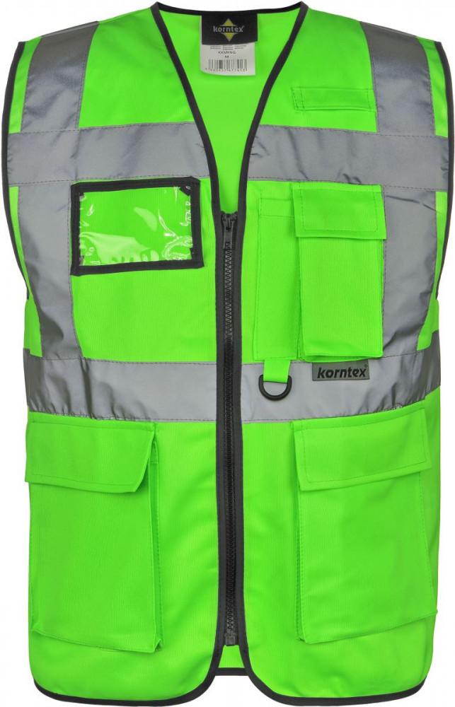 Korntex láthatósági vezetői mellény Multi Functional neon zöld