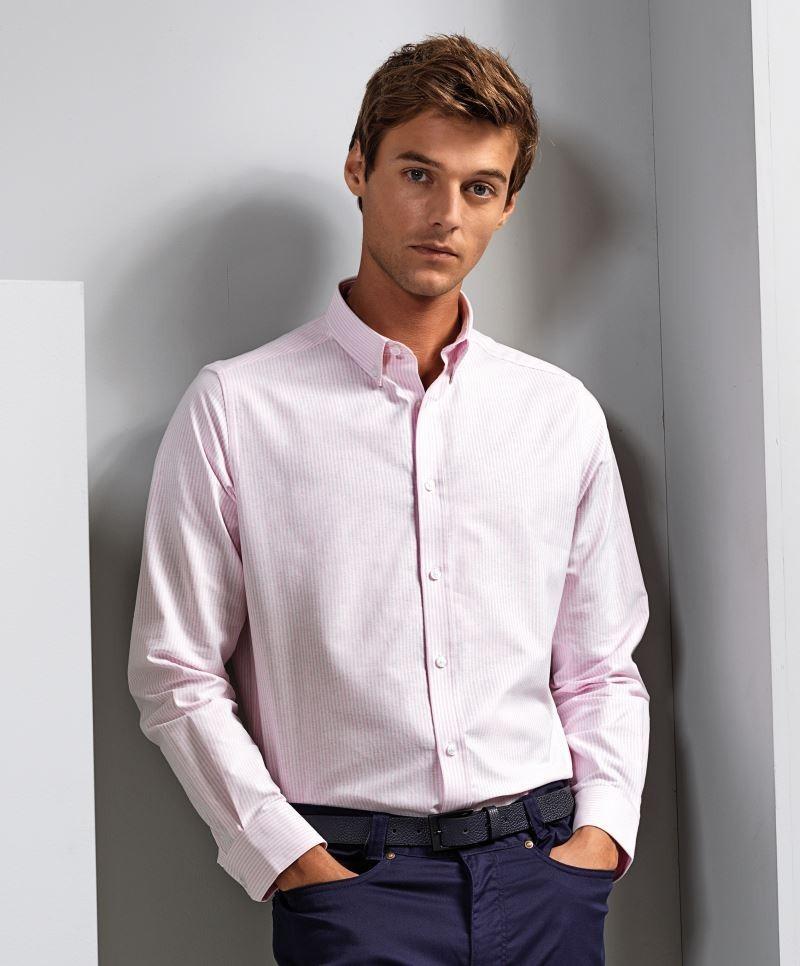 Premier hosszú ujjú ing Oxford Stripes 135 fehér-pink